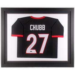 Nick Chubb Signed Georgia Bulldogs 35x43 Custom Framed Jersey (Radtke COA)