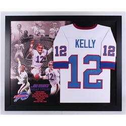 Jim Kelly Signed Buffalo Bills 35.5x43.5 Custom Framed Jersey Display (JSA COA)