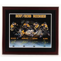 Boston Bruins 2017-2018 Rookies 23x27 Custom Framed Photo Display Signed By (4) with Charlie McAvoy,