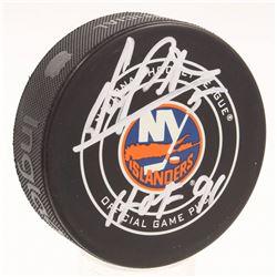 "Denis Potvin Signed New York Islanders Logo Hockey Puck Inscribed ""HOF 91"" (MAB Hologram)"