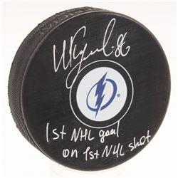 "Nikita Kucherov Signed Tampa Bay Lightning Logo Hockey Puck Inscribed ""1st Goal on 1st NHL Shot"" (Yo"
