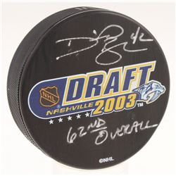 """David Backes Signed 2003 NHL Draft Logo Hockey Puck Inscribed """"62nd Overall"""" (Your Sports Store Memo"""