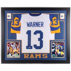 Kurt Warner Signed St. Louis Rams 35x43 Custom Framed Jersey (Beckett COA)