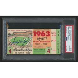 Sandy Koufax  Vin Scully Signed 1963 World Series Game 4 Game Ticket Stub (PSA Encapsulated)
