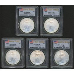 Lot of (5) 2006 American Silver Eagle $1 One Dollar Coins - First Strike, U.S. Flag Label (PCGS MS69