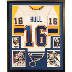 Brett Hull Signed St. Louis Blues 34x42 Custom Framed Jersey (JSA COA)