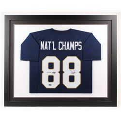 """Lou Holtz Signed Notre Dame Fighting Irish 35x43 Custom Framed Jersey Inscribed """"Play Like A Champio"""