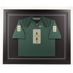 Marcus Mariota Signed Oregon Ducks 35x43 Custom Framed Jersey (Radtke COA)