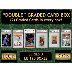 "Icon Authentic ""Double"" Graded Card Box (2) Cards per Box! Series 3 (Guaranteed 2 Cards per Box)"