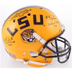 """Billy Cannon, Jacob Hester  Justin Vincent Signed LSU Tigers Full-Size Helmet Inscribed """"National Ch"""