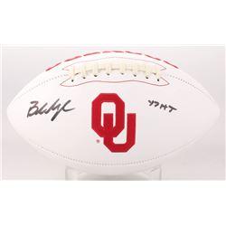 """Baker Mayfield Signed Oklahoma Sooners Logo Football Inscribed """"17 HT"""" (Beckett COA)"""