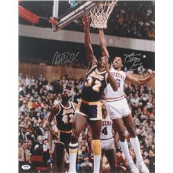 Magic Johnson  Julius Erving Signed 16x20 Photo (PSA COA)