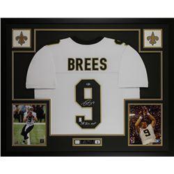 "Drew Brees Signed New Orleans Saints 35x43 Custom Framed Jersey Display Inscribed ""SB XLIV MVP"" (Bec"