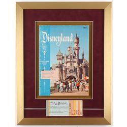 Disneyland 15.5x20 Custom Framed 1957 Guide Display with Ticket Booklet