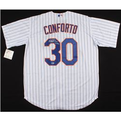 "Michael Conforto Signed New York Mets Jersey Inscribed ""Lets Go Mets"" (Beckett COA)"