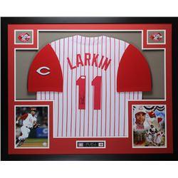 Barry Larkin Signed Reds 35x43 Custom Framed Jersey (JSA COA)