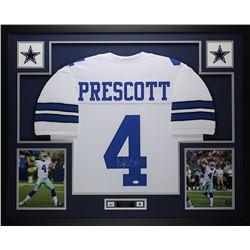 Dak Prescott Signed Cowboys 35x43 Custom Framed Jersey (JSA COA)
