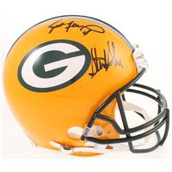 Brett Favre  Sterling Sharpe Signed Green Bay Packers Full-Size Authentic On-Field Helmet (Radtke CO