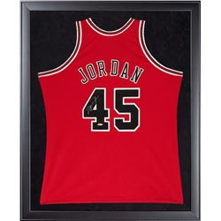 Michael Jordan Signed Chicago Bulls 32x44 Custom Framed Jersey (UDA COA)