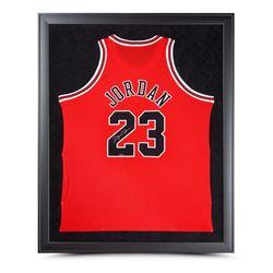 Michael Jordan Signed Chicago Bulls 32x42 Custom Framed Jersey (UDA COA)