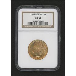 1908 $10 Ten Dollars Indian Head Eagle Motto Gold Coin (NGC AU 58)