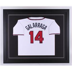 Andres Galarraga Signed Atlanta Braves 35.5x43.5 Custom Framed Jersey (Radtke COA)