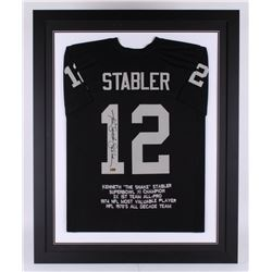 Ken Stabler Signed Oakland Raiders 35.5x43.5 Custom Framed Career Highlight Stat Jersey (Radtke COA)