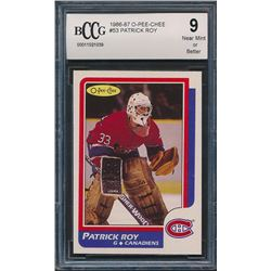 1986-87 O-Pee-Chee #53 Patrick Roy RC (BCCG 9)