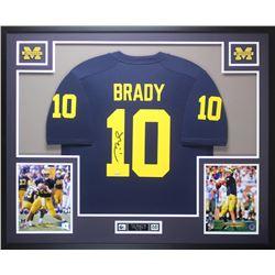 Tom Brady Signed Michigan Wolverines 35x43 Custom Framed Jersey (TriStar Hologram)