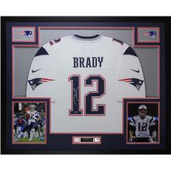 Tom Brady Signed New England Patriots 35x43 Custom Framed Jersey (TriStar Hologram)