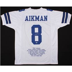 Troy Aikman Signed Dallas Cowboys Career Highlight Stat Jersey (Beckett COA)