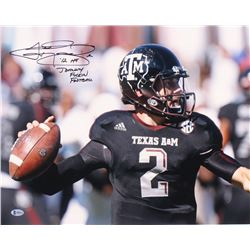 "Johnny Manziel Signed Texas AM Aggies 16x20 Photo Inscribed ""-12HT""  ""Johnny *F***** Football"" (Beck"