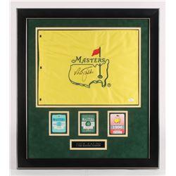 "Nick Faldo Signed ""The Masters"" 25.5x28.5 Custom Framed Flag Display (JSA COA)"