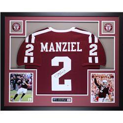 "Johnny Manziel Signed Texas AM Aggies 35"" x 43"" Custom Framed Jersey (PSA COA)"