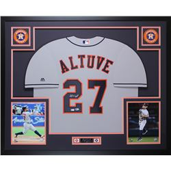 Jose Altuve Signed Houston Astros 35x43 Custom Framed Jersey Display (Beckett COA  MLB Hologram)