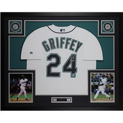 Ken Griffey Jr. Signed Seattle Mariners 35x43 Custom Framed Jersey (Beckett COA  TriStar Hologram)