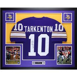"""Fran Tarkenton Signed Minnesota Vikings 35"""" x 43"""" Custom Framed Jersey Inscribed """"HOF 86"""" (JSA COA)"""