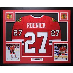 "Jeremy Roenick Signed Chicago Blackhawks 35"" x 43"" Custom Framed Jersey (JSA COA)"