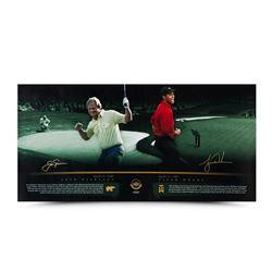 """Tiger Woods  Jack Nicklaus Signed """"Masterful"""" 18x36 Photo (UDA COA)"""