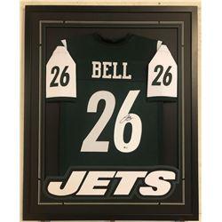 Le'Veon Bell Signed New York Jets 34x42 Custom Framed Jersey (Beckett COA)