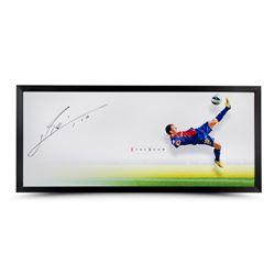 "Lionel Messi Signed Barcelona ""The Show"" 20x46 Custom Framed Photo (UDA COA)"