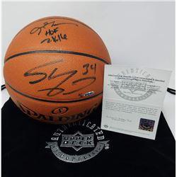 "Allen Iverson  Shaquille O'Neal Signed Limited Edition Basketball Inscribed ""HOF 2K16"" (UDA COA)"