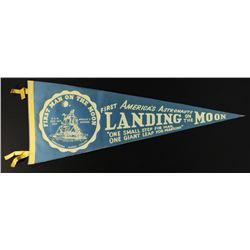"1969 Vintage Original Apollo 11 ""First Landing on the Moon"" Pennant (Neil Armstrong, Buzz Aldrin  Mi"