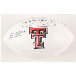 Wes Welker Signed Texas Tech Red Raiders Logo Football (Fanatics Hologram)