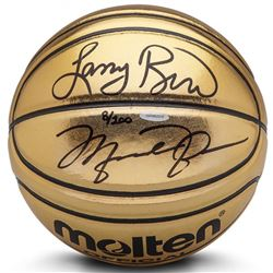 Michael Jordan  Larry Bird Signed Limited Edition Molten Gold Basketball (UDA COA)