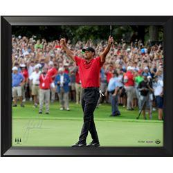 """Tiger Woods Signed """"Exultation"""" 18x36 Custom Framed Limited Edition Photo (UDA COA)"""