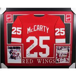 "Darren McCarty Signed Red Wings 35x43 Custom Framed Jersey Inscribed ""4x SC Champs"" (JSA COA)"