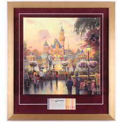 "Thomas Kinkade 50th Anniversary ""Disneyland"" 20x22 Custom Framed Canvas on Wood Display with Full Vi"
