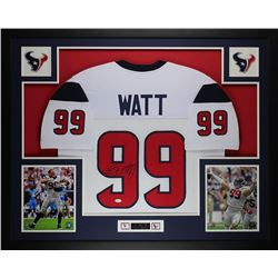 JJ Watt Signed Houson Texans 35x43 Custom Framed Jersey (JSA COA)