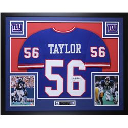 Lawrence Taylor Signed New York Giants 35x43 Custom Framed Jersey Display (JSA COA)